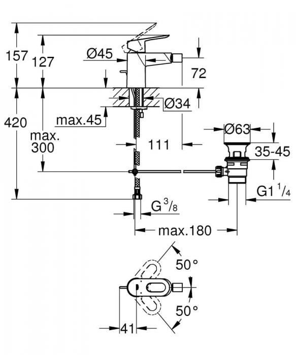 Baterie bideu Grohe BauLoop 1/2, monocomanda 1