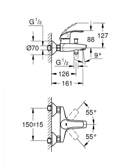 Baterie pentru cada Grohe Eurosmart New, monocomanda 1