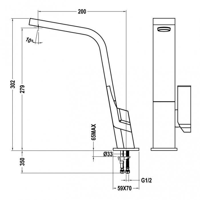 Baterie de bucatarie prevazuta aerator integrat Teka IC 915 N negru 1
