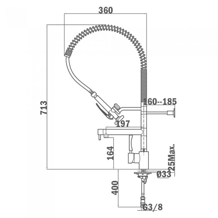 Baterie de bucatarie prevazuta cu teava de curgere rotativa si sistem de dus cu 1 functie de jet Teka MY 202 [1]