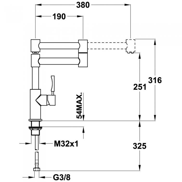 Baterie de bucatarie prevazuta teava de curgere articulata Teka INX 983 1