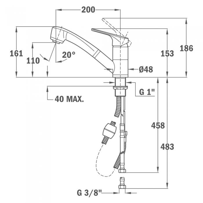 Baterie de bucatarie prevazuta cu sistem de dus extractabil Teka MTP 978 Negru 1