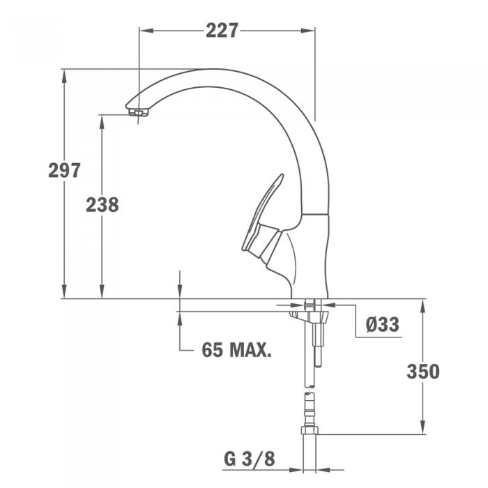 Baterie de bucatarie prevazuta cu teava de curgere inalta  Teka MC 10 PLUS 9115 Topasbeige 1