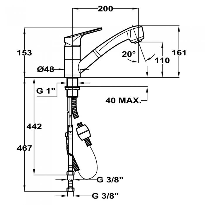 Baterie de bucatarie prevazuta cu teava de curgere flexibila Teka MZ FO 939 1
