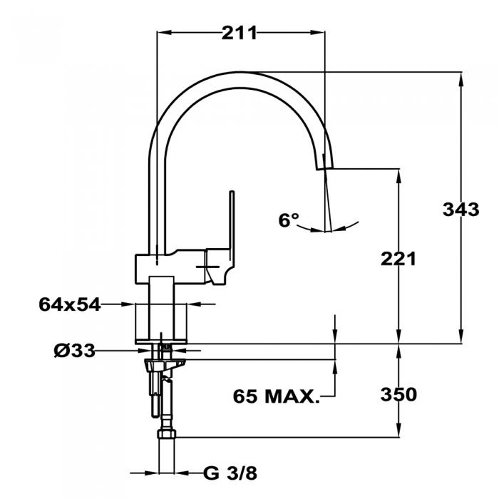 Baterie de bucatarie prevazuta cu teava de curgere inalta Teka MZ 915 N (Cuadro MZ Black) 2