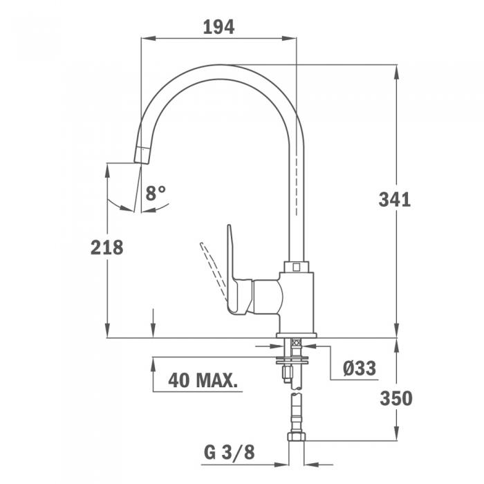 Baterie de bucatarie prevazuta cu teava de curgere inalta rotativa Teka IN 995 INCA 2