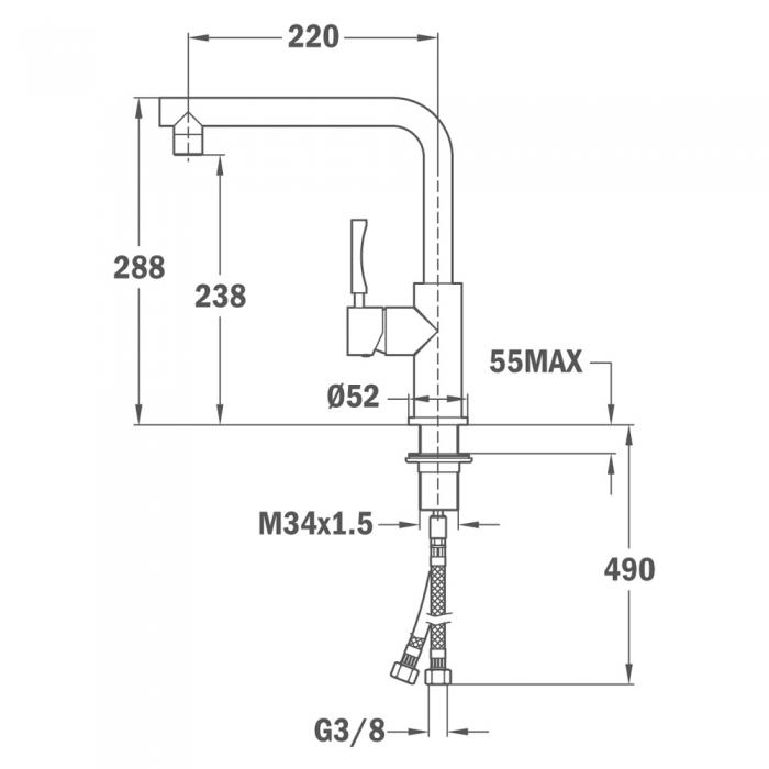 Baterie de bucatarie prevazuta cu teava de curgere inalta Teka INX 914 [1]