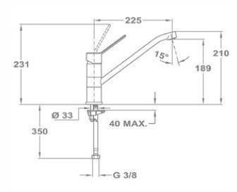 Baterie de bucatarie prevazuta cu teava de curgere turnata joasa Teka MTP 993 [1]