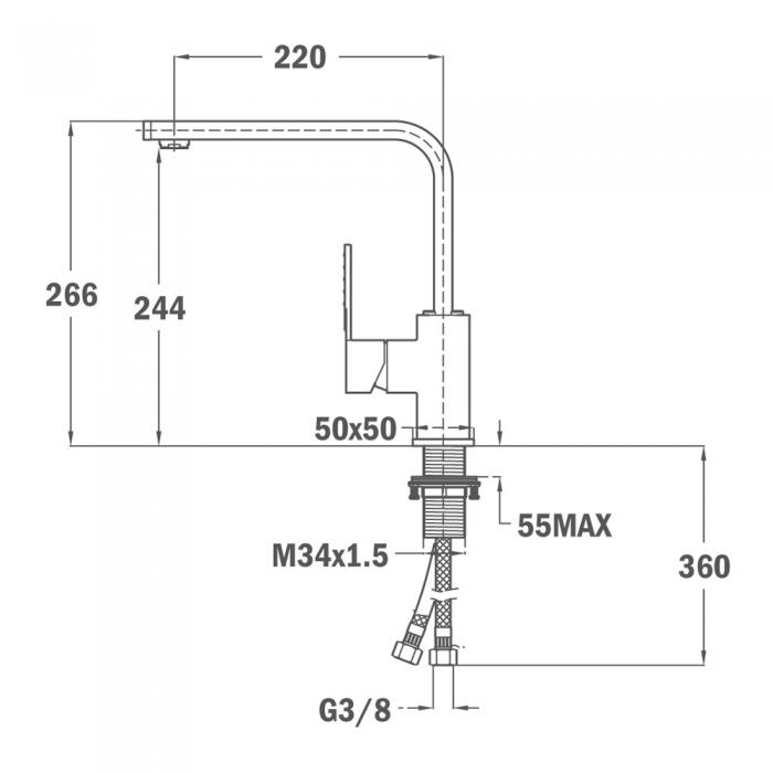 Baterie de bucatarie prevazuta teava de curgere inalta  Teka INX 994 1