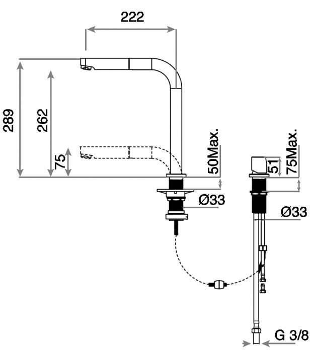Baterie de bucatarie prevazuta teava de curgere extractabila si sistem de dus Teka AUK 983 2