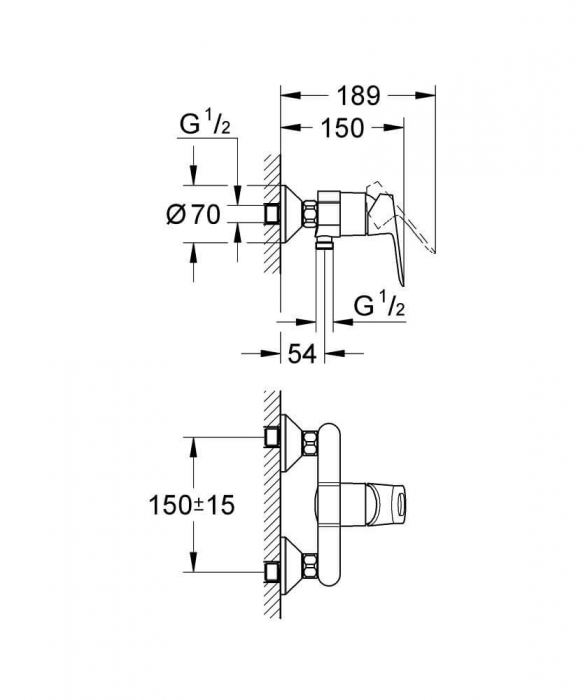 Baterie dus Grohe BauLoop 1/2, monocomanda 1