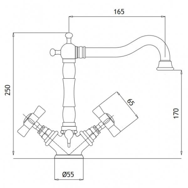 Baterie lavoar Bugnatese Princeton 834, design traditional 3
