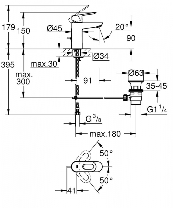 Baterie lavoar monocomanda Grohe BauLoop 1/2, marimea S 1