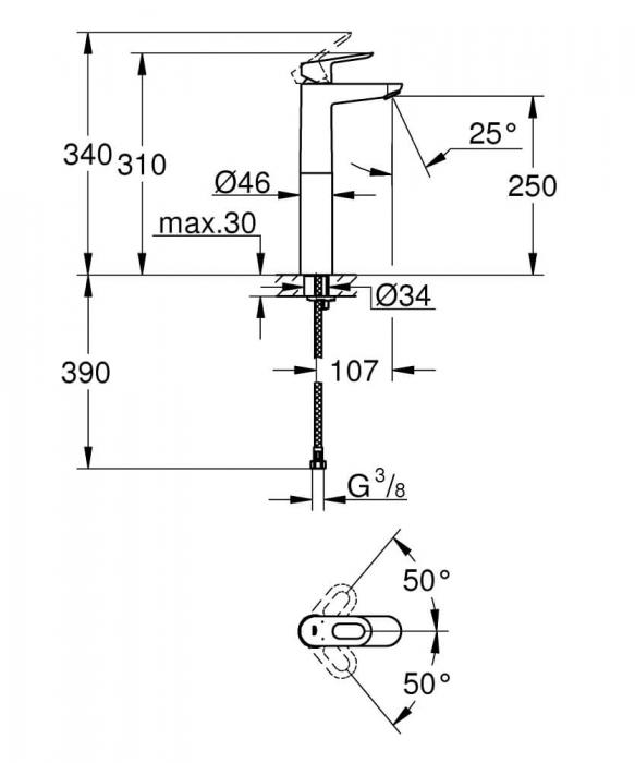 Baterie lavoar monocomanda Grohe BauLoop 1/2, marimea XL, cu montaj pe blat 1
