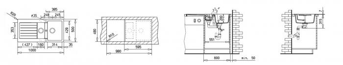 Chiuveta bucatarie cu doua cuve din tegranit Teka Lugo 60B TG 1 12B 1D 1