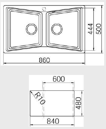 Chiuveta bucatarie cu doua cuve din tegranit Teka Lumina 90B TG 2B 1