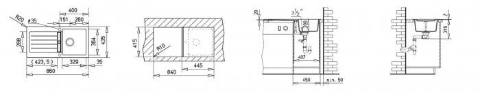 Chiuveta bucatarie cu o cuva din tegranit Teka Kea 45B TG 1B 1D 1