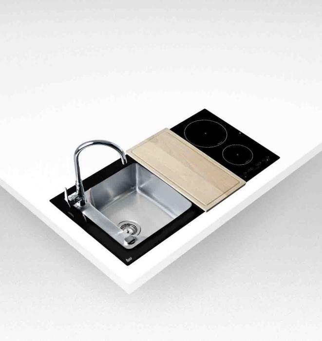 Chiuveta din inox si sticla securizata de culoare neagra + plita electrica integrata Teka Compact Lux 1000.520 1B 2I 2