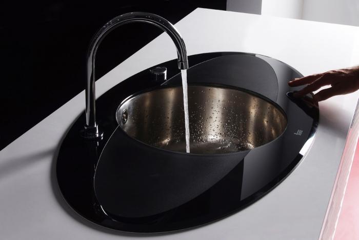 Chiuveta din inox si sticla securizata de culoare neagra + baterie cu teava inalta cu Touch control Teka i-Sink 95 DX 1
