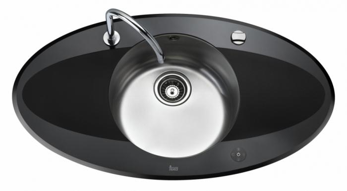Chiuveta din inox si sticla securizata de culoare neagra + baterie cu teava inalta cu Touch control Teka i-Sink 95 DX 0