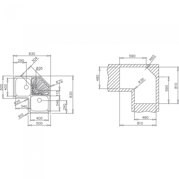 Chiuveta din inox Teka Classic Angular 2B 1