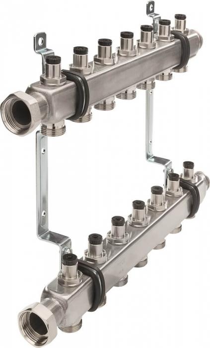Distribuitor TECEflex SLQ rectangular, din otel, 1'' x ¾'', cu robineti de izolare 0