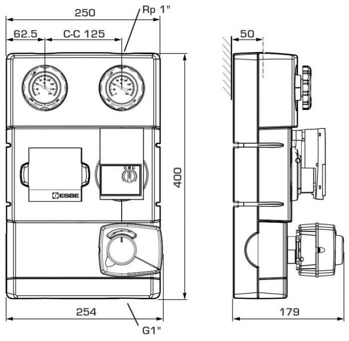 "Grup de circulație cu ventil de amestec si servomotor ESBE GRA 111 - 25, 1"" 1"