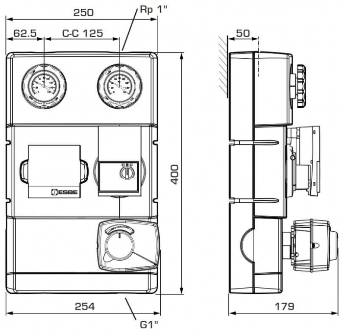 "Grup de circulație cu ventil de amestec si servomotor ESBE GRA 111 - 25, 1¼"" 1"