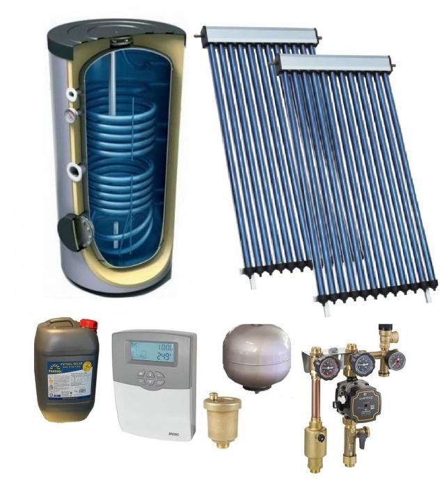 Pachet panou solar cu 2 x 20 de tuburi, boiler 200l bivalent, 6P confort, WiFi, A++ 0