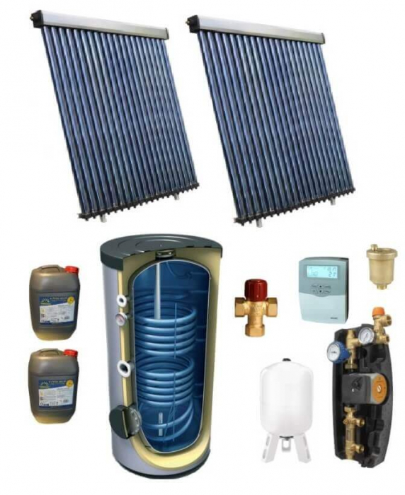 Pachet panou solar pentru 10 persoane cu boiler bivalent de 500l [0]