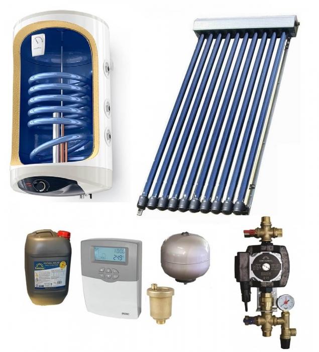Pachet panou solar cu colector de 12 tuburi, boiler 120l monovalent, pentru 2 persoane [0]