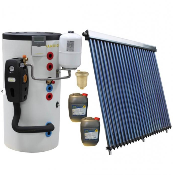 Pachet panou solar cu colector de 25 tuburi, boiler 200l bivalent, pentru 4 persoane 0