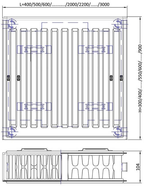 Radiator din otel ECA Smart 22x600x2000 - 4203 W [1]