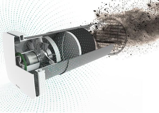 Ventilator cu recuperare de caldura si functie de purificare a aerului Aspira RHINOCOMFORT 160 RF 1