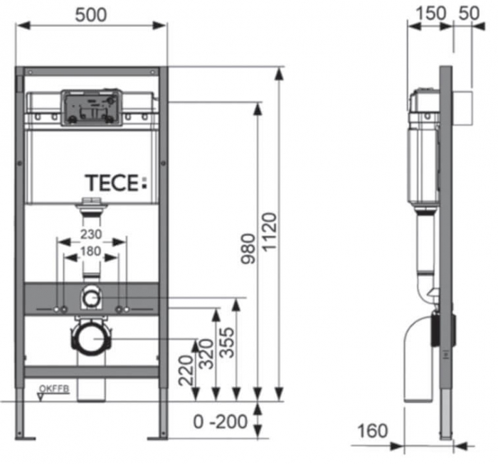 Rezervor WC Tece Base cu cadru ingropat si clapeta crom lucios 1