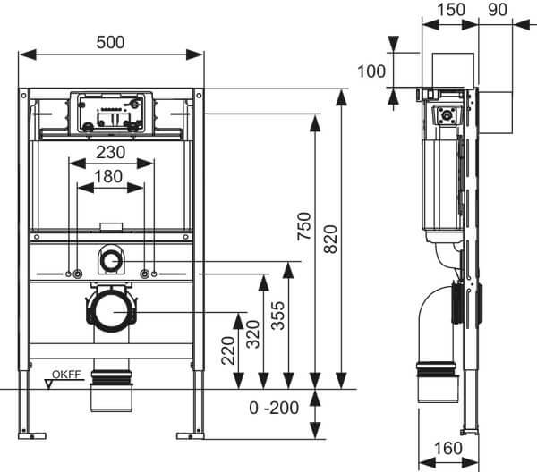 Cadru wc cu bazin TECE Standard cu montaj incastrat inaltime 1120 mm [3]