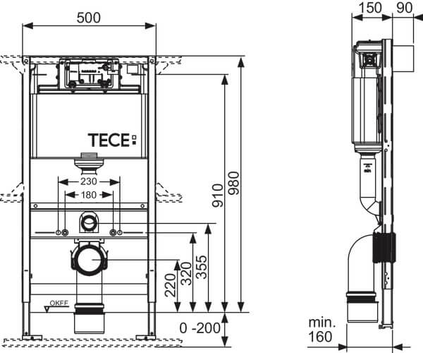 Cadru wc cu bazin TECE Standard cu montaj incastrat inaltime 1120 mm [2]