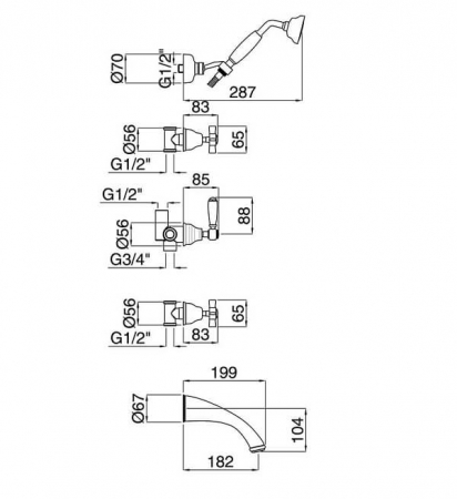 Baterie cada/dus Bugnatese Princeton 818,  montaj pe perete [1]