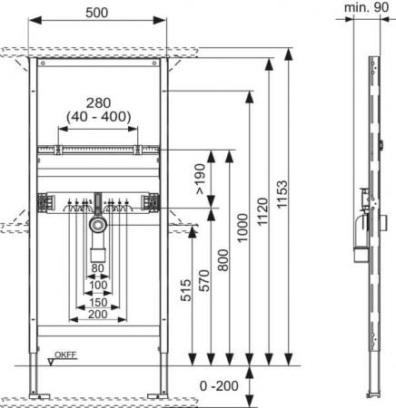 Cadru lavoar TECE Standard, inaltime reglabila, l= 500 mm1