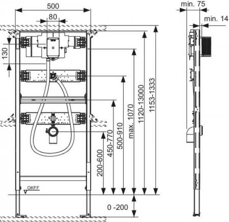 Cadru urinal TECE cu modul spalare U2, H1120 mm, pentru sisteme cu actionare electronice TECEfilo1