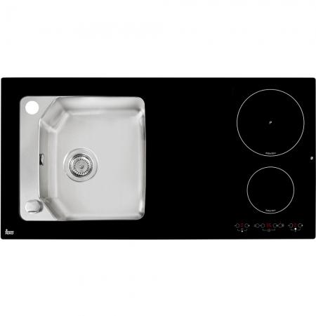 Chiuveta din inox si sticla securizata de culoare neagra + plita electrica integrata Teka Compact Lux 1000.520 1B 2I0