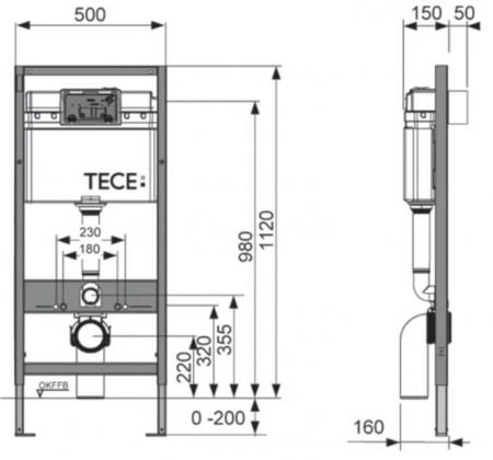 Rezervor WC cu cadru si clapeta alba, TECE BASE, actionare frontala, inaltime 1120mm2