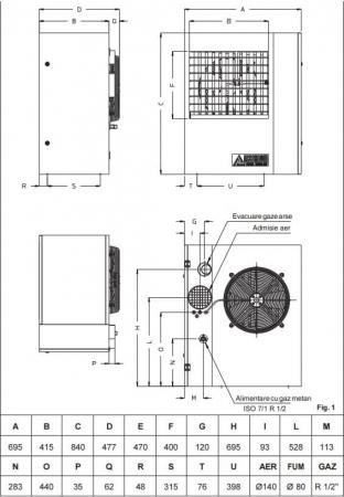Aeroterma cu gaz cu refulare directa Accoroni MEC 25, 25 kW, 2100 mc/h1