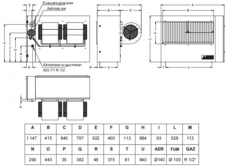 Aeroterma cu gaz cu refulare directa Accoroni MEC 57, 57 kW, 5000 mc/h1