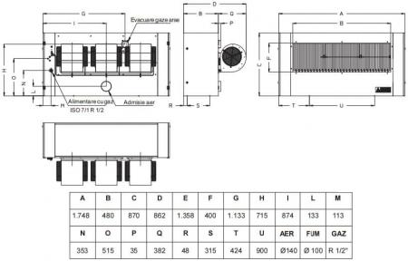 Aeroterma cu gaz cu refulare directa Accoroni MEC 85, 85 kW, 7400 mc/h1