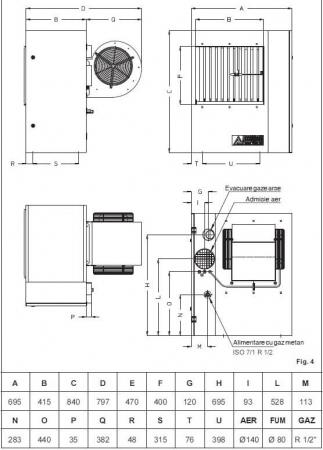 Aeroterma cu gaz pentru tubulatura Accoroni MEC 57 C, 57 kW, 5000 mc/h1