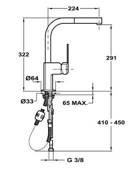 Baterie de bucatarie prevazuta cu teava de curgere inalta si sistem de dus Teka EXP 9981