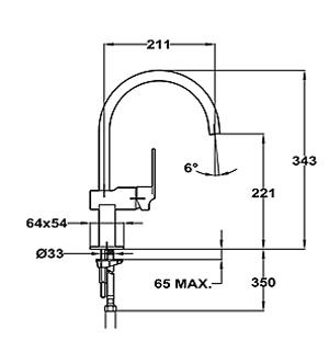 Baterie de bucatarie prevazuta cu teava de curgere inalta Teka MZ 915 (Cuadro MZ)2