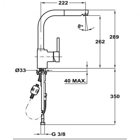 Baterie de bucatarie prevazuta cu teava de curgere inalta si sistem dus Teka ARK 9382