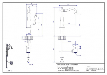 Baterie monocomanda lavoar Bugnatese Oxford 63171